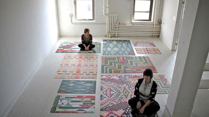 {pattern-happy floor mats} thin, washable, durable + pretty!