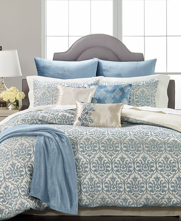 Martha Stewart Collection Pucker Damask 14 Pc King Comforter Set Created For Macy S Reviews Bed In A Bag Comforter Sets King Comforter Sets Macys Bedding