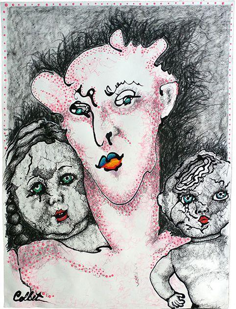 "The Pink One/Le seul rose - Mixed media on paper/Techniques mixtes sur papier - 18"" x 24"""