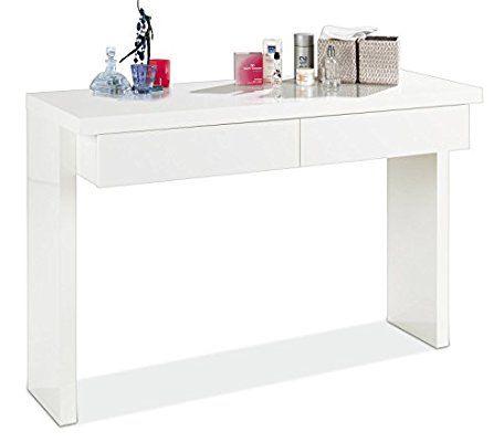 Konsolentisch Schminktisch Frisierkommode GELA | Weiß Hochglanz | 2  Schubladen | 120cm Breit