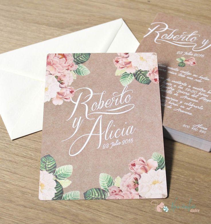 Invitación efecto kraft de estética romántica y vintage