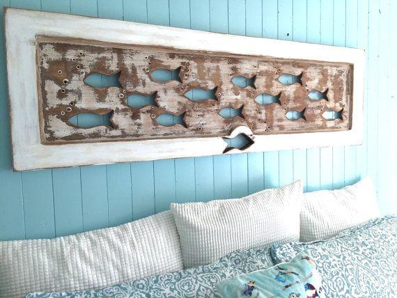 Wood School of Fish Wall Art Headboard Queen Size Sign Driftwood Colours Beach…