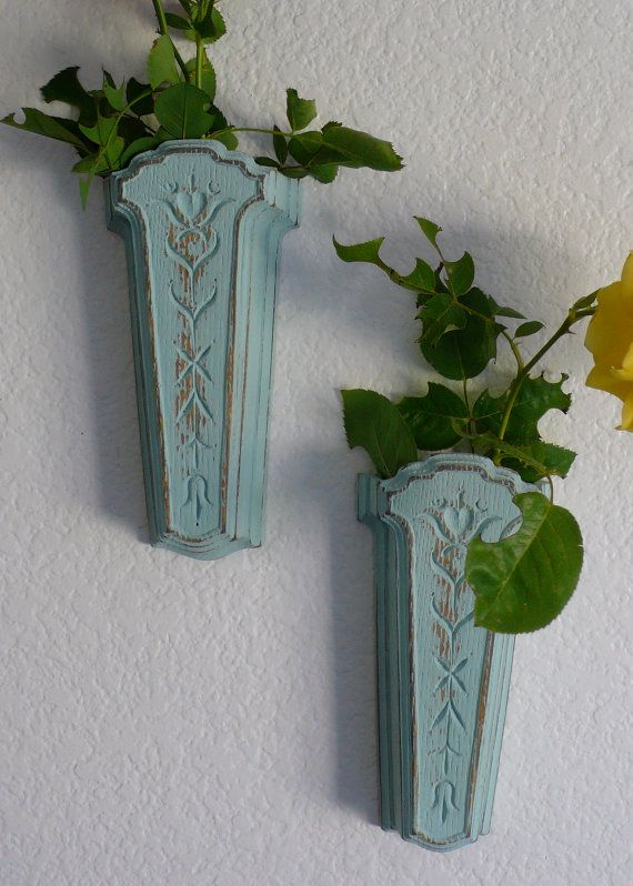 Vintage Wall Pockets Shabby Chic Wall Sconces Floral by chriscre, $9.00