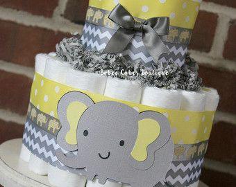 Gâteau de couches mini 2 Tier éléphant, éléphant gris jaune bébé douche, genre neutre bébé douche pièce maîtresse, Chevron gris gris jaune Decor