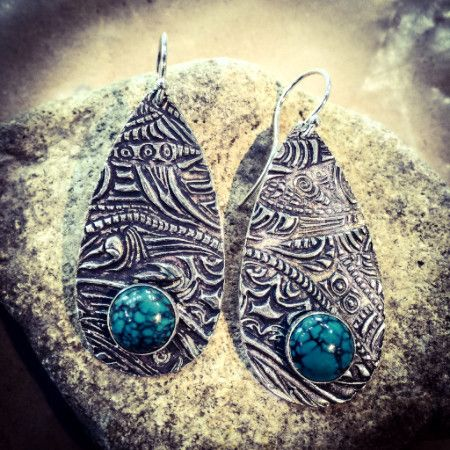 STERLING METAL CLAY EARRINGS WITH STONES