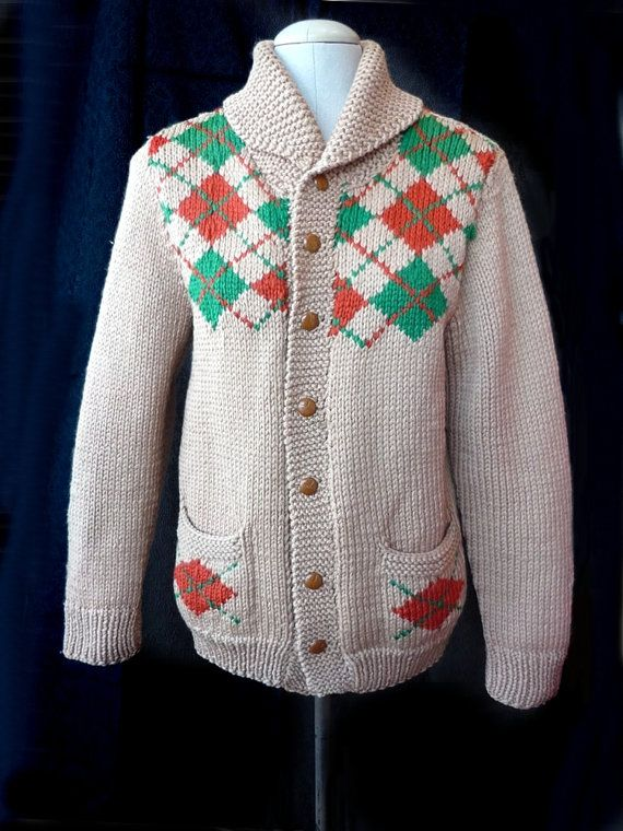 Vintage chunky hand-knit Argyle wool curling cardigan sweater / beige, green and orange / Retro Mary Maxim style / Cowichan Style
