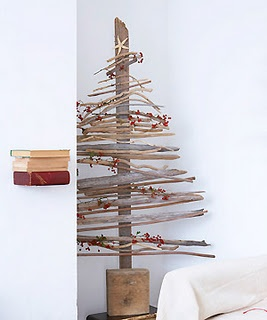 Recycled driftwood Christmas tree
