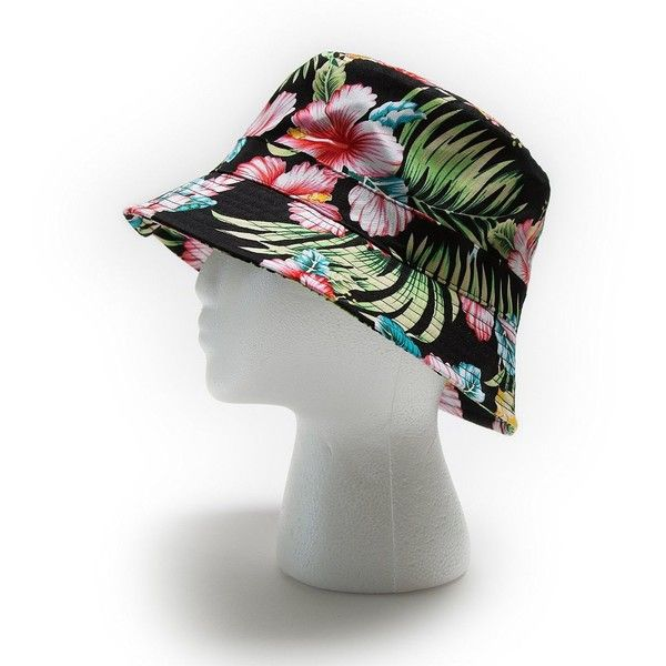 Hawaii Floral Print Bucket Hat Mens and Womens One Size Black ($10) ❤ liked on Polyvore featuring men's fashion, men's accessories, men's hats, mens bucket hat, mens fishing hats, mens floral hats and mens hats