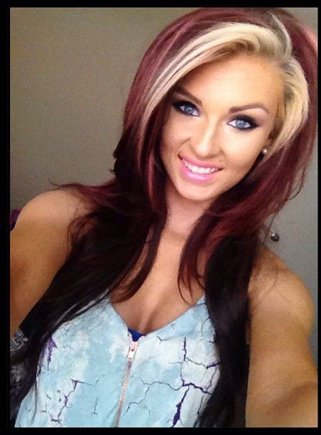 hair bright red with blonde | hair | Hair dye colors, Long