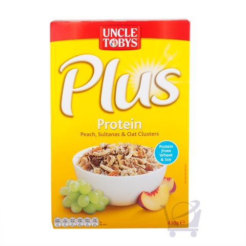 uncle tobys Uncle tobys plus cereal uncle tobys plus is the tasty breakfast cereal that combines crunchy toasted flakes with fruit pieces plus the goodness of extra nutrition.