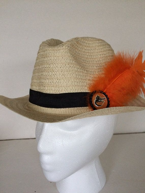 Check out this item in my Etsy shop https://www.etsy.com/listing/244747487/baltimore-orioles-fedora-straw-hat