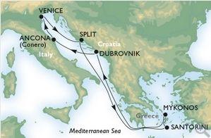 Venetia - Split - Santorini - Mykonos - Dubrovnik - Ancona - Venetia