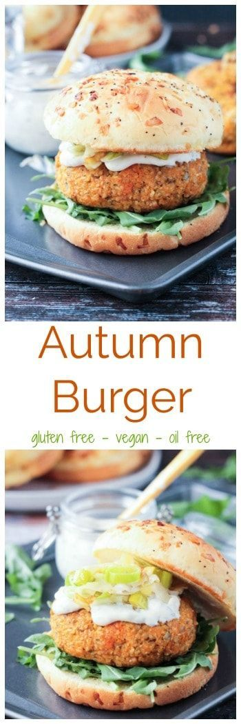 Autumn Burger from the new cookbook by Sophia DeSantis, Vegan Burgers and Burritos. This vegan burger is made from all whole food ingredients, like butternut squash, leeks, whole grain brown rice, and pumpkin seeds. It's so full of flavor! Accompanied by an amazing healthy, oil-free, vegan mayo, these burgers will make your entire family happy! #glutenfree #vegan #veggieburger #oilfree #butternutsquash #dairyfree   via @veggieinspired