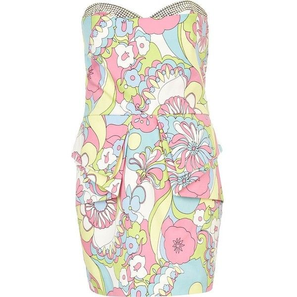 River Island Pink Print Diamante Bandeau Peplum Dress found on Polyvore