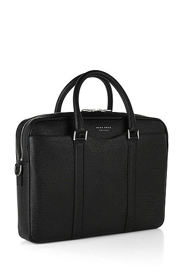 Laptop bag in finely-textured leather: 'Signature_S doc', Black