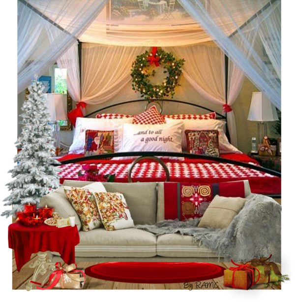 """Christmas Bedroom Decor"" by ramc on Polyvore.... Totally would do this if I had the  time and energy around the holidays"