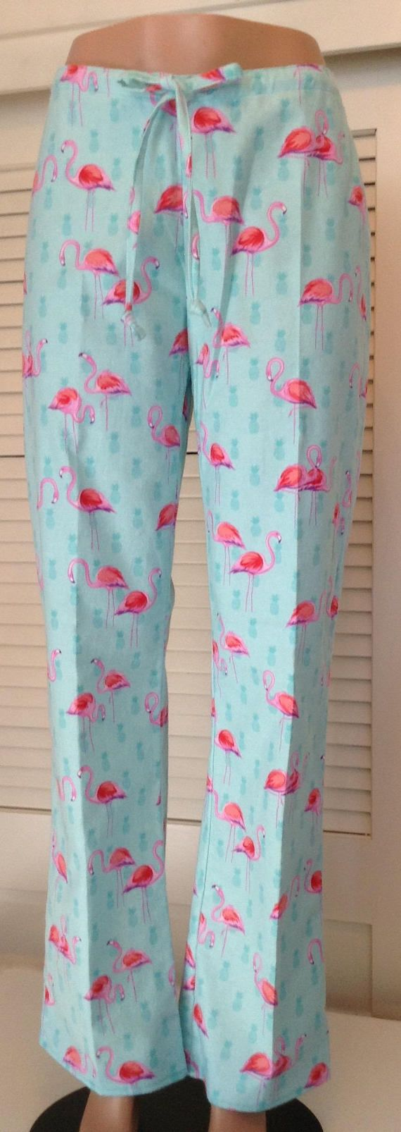 Pink flamingos on aqua blue background flannel pajama pant