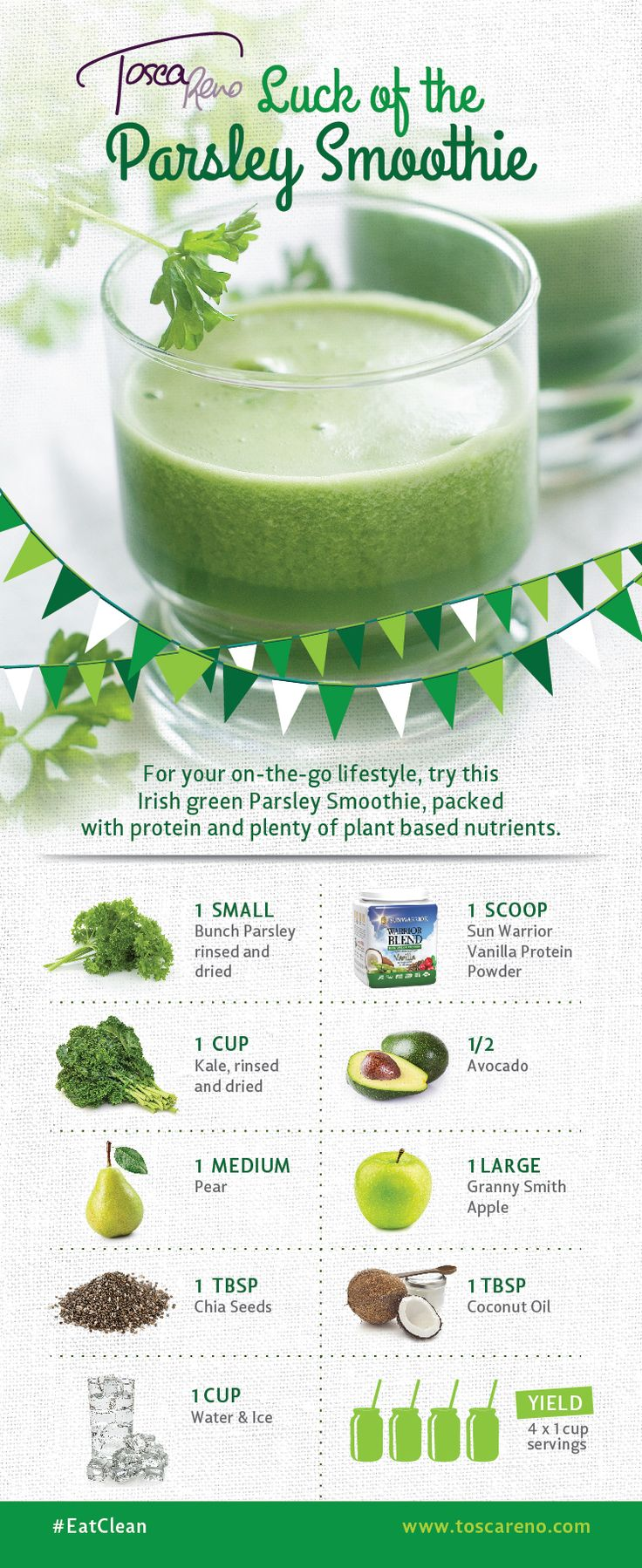 Happy #StPatricksDay! Try this #Luck of the #Parsley #Smoothie today -- or any day! : ) #eatclean #eatcleandiet #toscareno #eatingclean #eatinggreen #cleaneating #greensmoothie #avocado #protein #breakfast #smoothierecipe