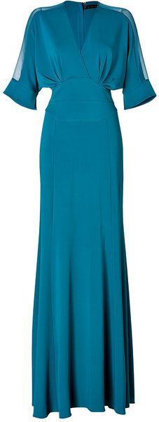 Elie Saab Blue Sheer Sleeve Gown in Marine
