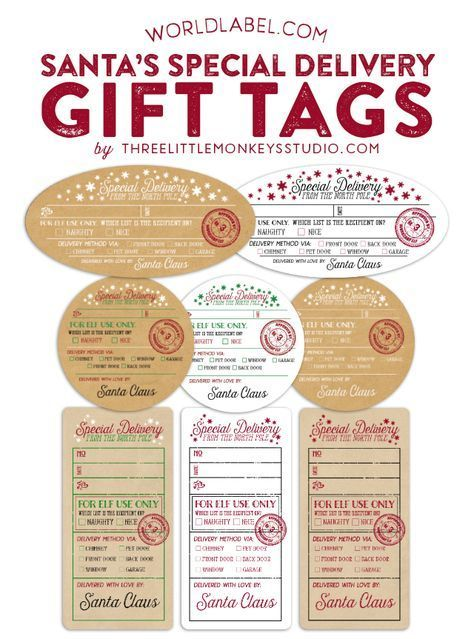 Santa's Special Delivery Gift Tags FREE Printable by Gretchen of @3littlemonkeys via @worldlabel