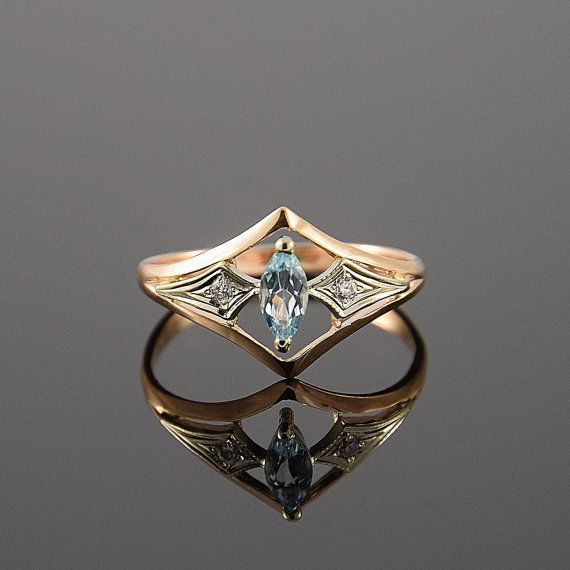 Promise ring, Topaz ring, Art deco ring, Diamond ring, Birthstone ring, Gemstone ring, Marquise ring, Blue topaz ring, Personalized ring  This is a stunning, feminine ring that works well for all occasions, styles, and ages. You will love it!  SHIPPING by Priority Air Mail! ▂▂▂▂▂▂▂▂▂▂▂▂▂▂▂▂▂▂ Ring information:  Main stone: Sky Topaz Approximate size: 6*3 mm Approximate weight: 0.28 ct  Accent stone: Diamond Approximate size: 1.25mm (2 stones) Approximate weight: 0.016 ct(in total)  Metal…