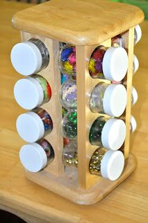 Use a spice rack for little arts and crafts materials such as glitter, beads, sequins, and googly eyes.