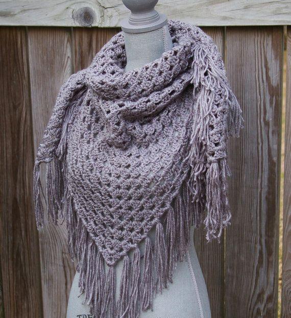 Free Crochet Triangle Scarf Patterns | Grey Shawl Triangle Scarf Hand Crocheted on Wanelo