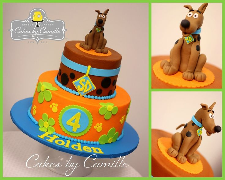 Scooby Doo Birthday Cake, Sculpted fondant Scooby
