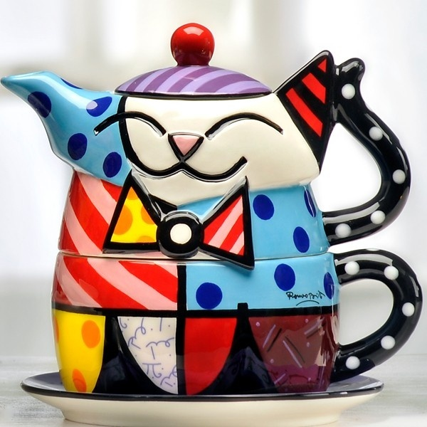 Romero Britto Ceramic Cat kitten Tea For One Teapot Cup mrp
