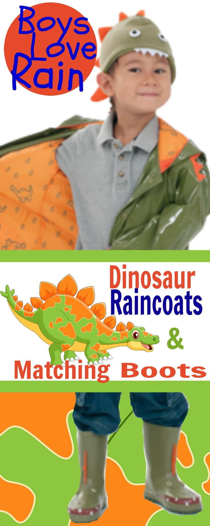 Dinosaur Children Raincoats with Matching Boots. Watch out neighbors, here comes the dinosaurs!