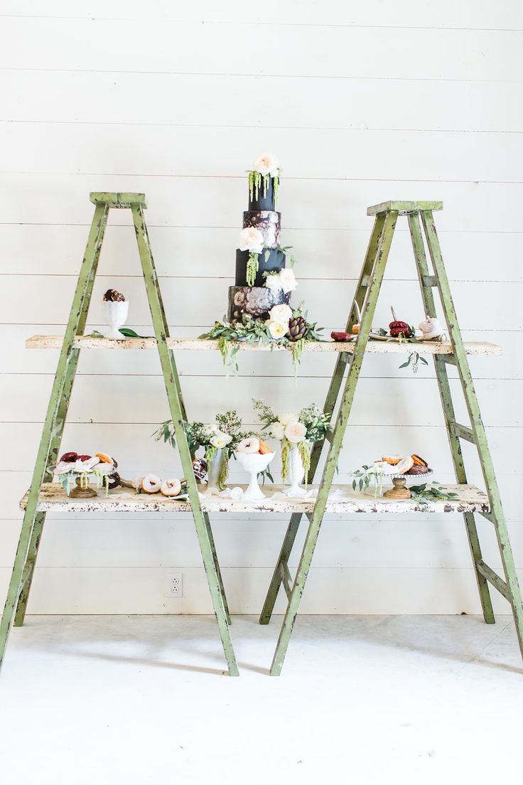 cake table with ladders - photo by Olivia Morgan Photography http://ruffledblog.com/get-inspired-by-this-beautiful-wedding-cake-table