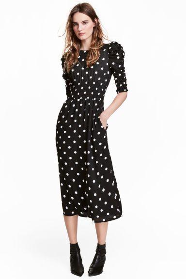 Sukienka z marszczeniem - Czarny/Białe kropki - ONA | H&M PL