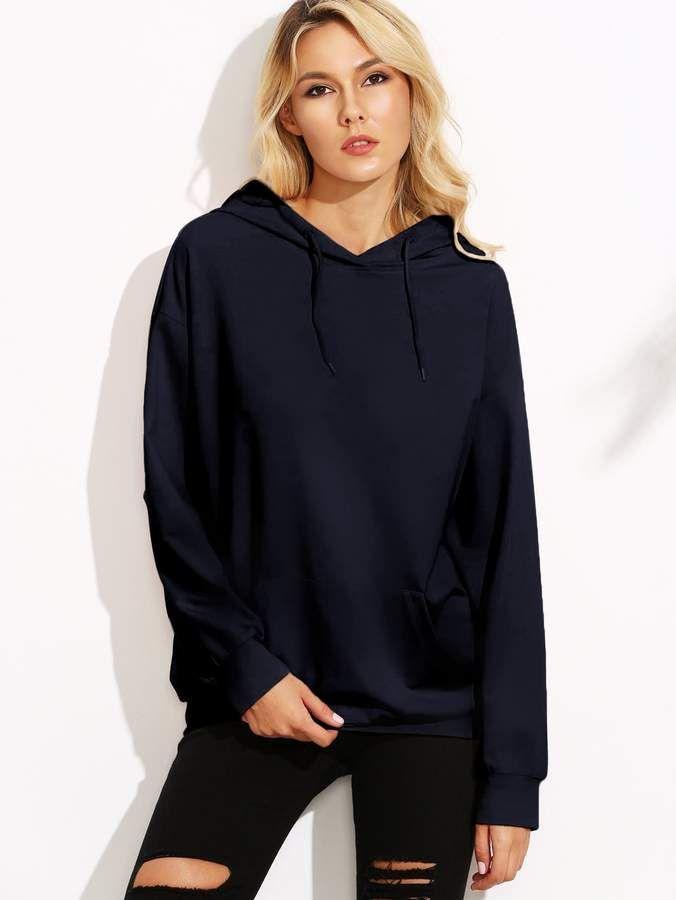 c4a7e02970 SheinShein Drop Shoulder Hoodie With Kangaroo Pocket | Products in 2019 |  Hoodies, Hooded jacket
