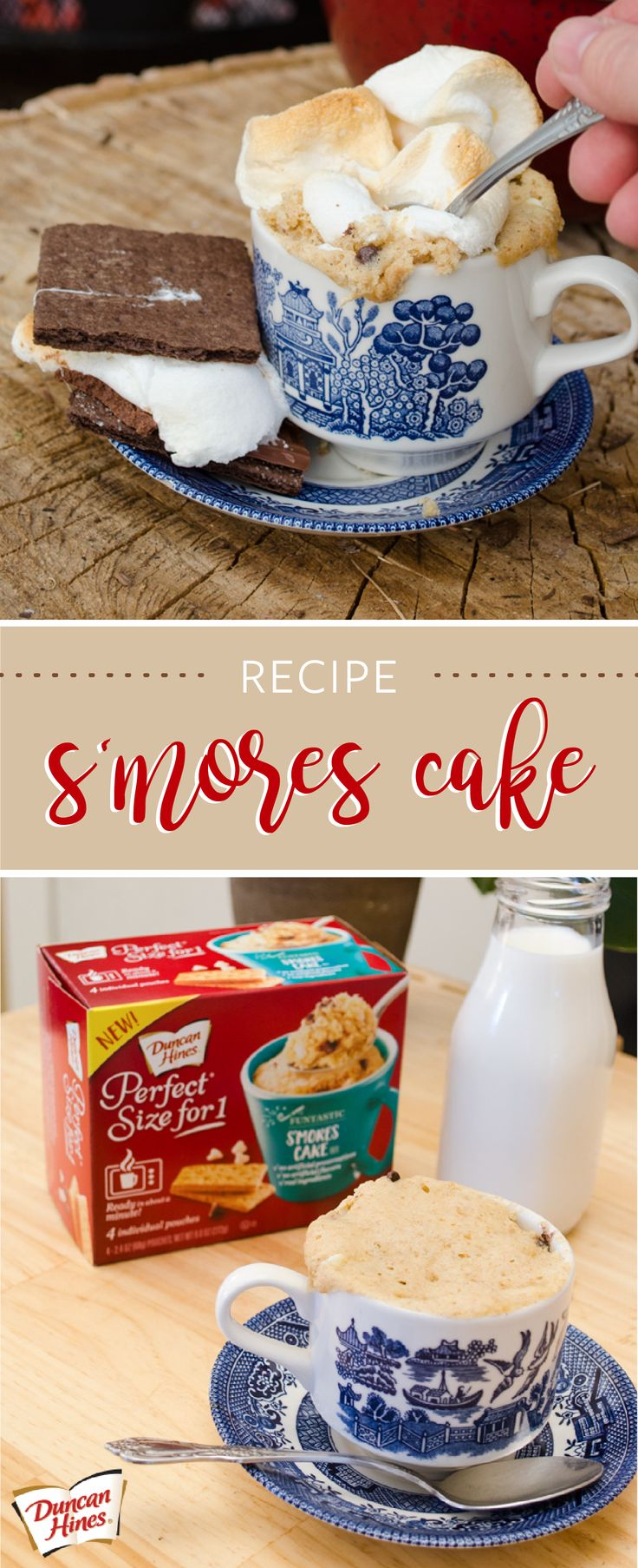 Enjoying the delicious combination of chocolate, marshmallows, and graham crackers has never been easier thanks to this Duncan Hines® Perfect Size for 1® S'mores Cake. Found at Kroger or your local Kroger banner, this simple and tasty dessert recipe is perfect for a late-night treat—especially since no baking is required!