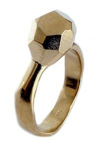 Faceted ring in sterling silver and gold plate - $350