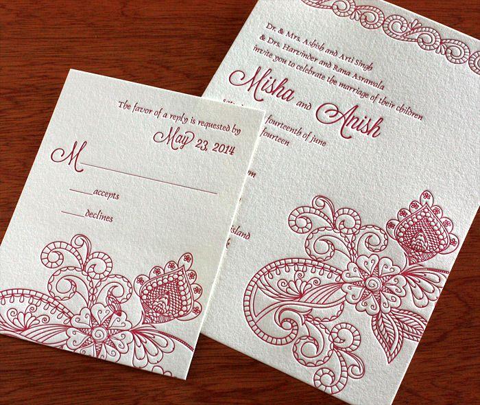186 best invitation style south asian images on pinterest misha indian wedding card letterpress wedding invitation stopboris Images