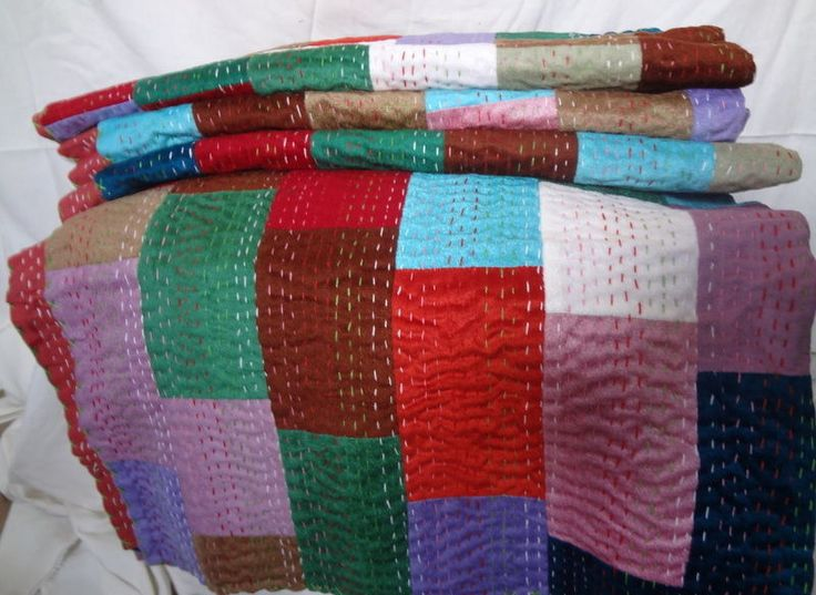 Velvet Patch Work Kantha Quilt Bed Speared Blanket Throw