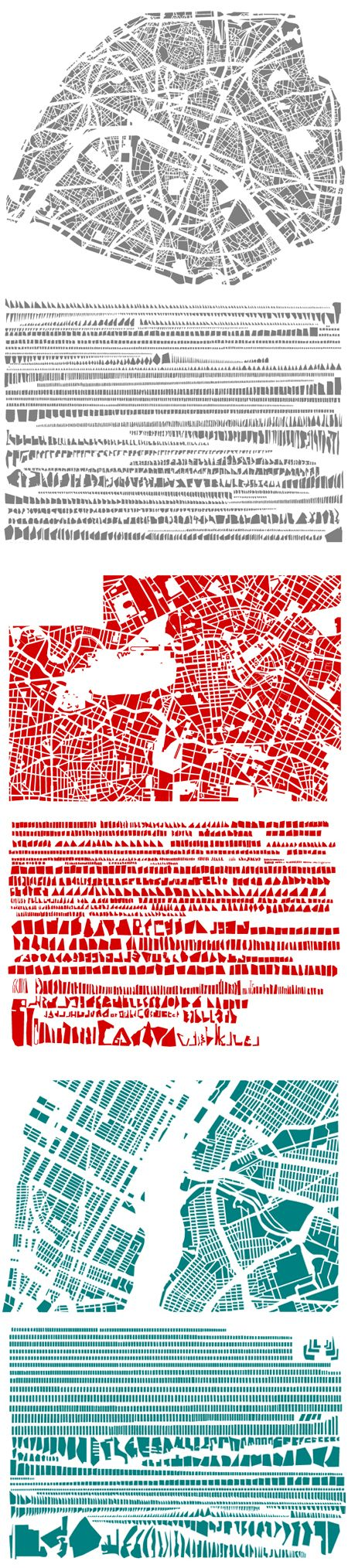 Deconstructive Cities: Paris, Berlin, and New York… completely dissected into little bits, and then neatly organized according to shape and size by French artist Armelle Caron. www.portfolio-oomph.com Online support covering all aspects of applying to art college.