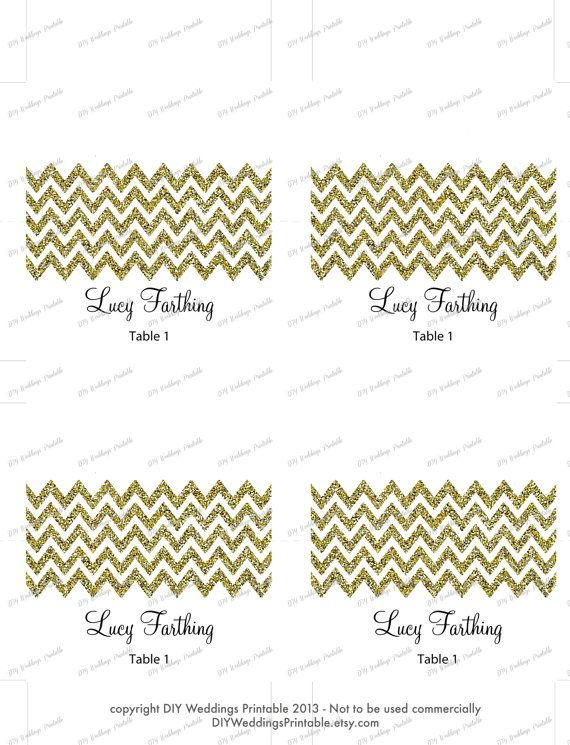 Printable Diy Gold Glitter Chevron Name Card Template For You To Make Your Own Diy Tent Style Name C Printable Place Cards Place Card Template Gold Place Cards