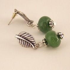 Boucles d'oreille puce feuille et jade
