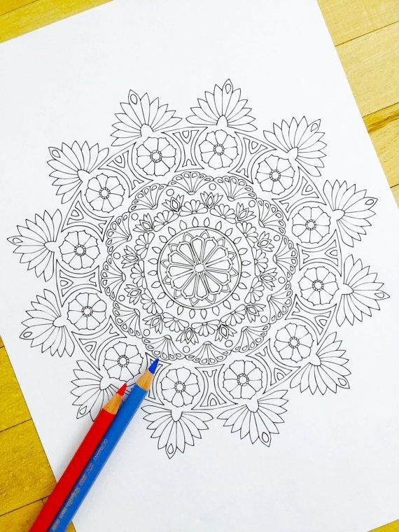 Mandala Eden Hand Drawn Adult Coloring Page Print By MauindiArts