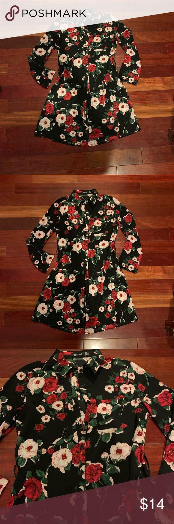 Floral shirt dress Black with red floral print shirt dress. Belt does have belt …