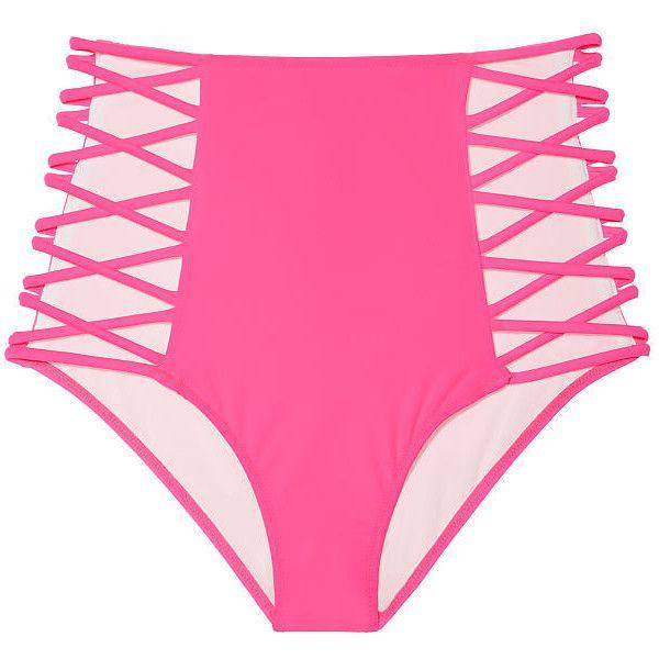 PINK High Waist Strappy Bikini Bottom ($35) ❤ liked on Polyvore featuring swimwear, bikinis, bikini bottoms, pink, retro bikini, retro high waisted bikini, crisscross bikinis, high rise bikini bottoms and criss cross bikini