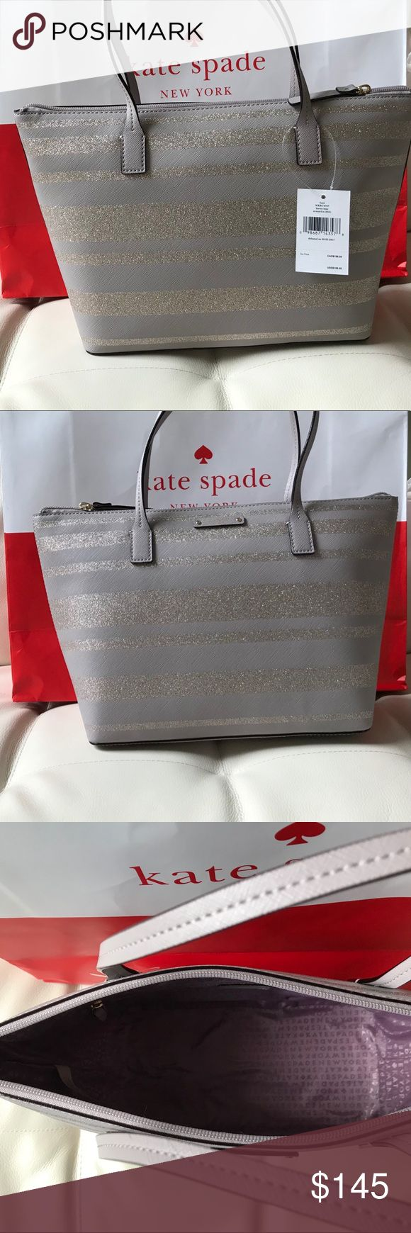 """NWT KATE SPADE NEW YORK NOUVEAU NEUTRAL TOTE BAG Kate Spade handbag  Hani Haven Lane Tote  Nouveau Neutral Glitter Stripes  New with tags. Authenticity Guaranteed!    Kate Spade logo print lining with zippered pocket and two open slip pockets  Zippered top closure with Kate Spade license plate logo on front  Dual handles have a drop of about 6.5""""  Measures approximately 10.5 -14.5"""" (L) x 9"""" (H) x 5.25"""" (W)  📌 NO TRADES PLEASE kate spade Bags Totes"""