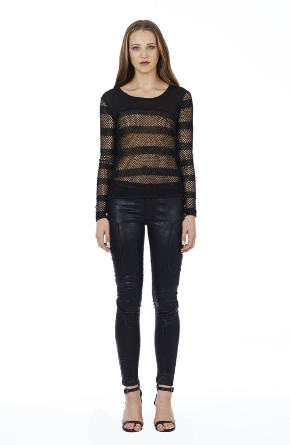 Strike Out Knit in Black with Lone Rider Jean in Black