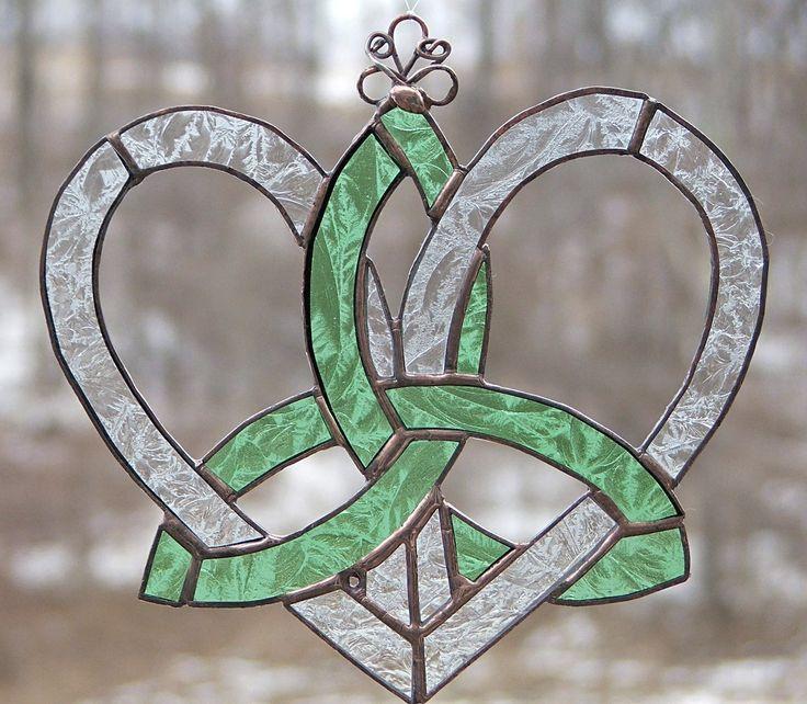 Stained Glass Celtic Suncatcher-Mother's Heart Celtic Knot-Mint Green Lace. $25.00, via Etsy.