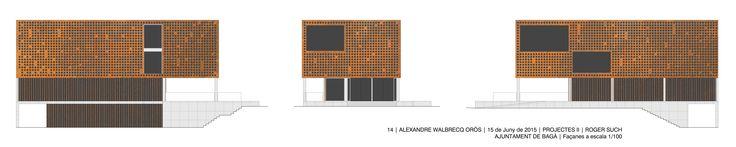 Ayuntamiento de Bagà - Álex Walbrecq | Etsab: Proyectos II | Roger Such | Fachadas a escala 1/100