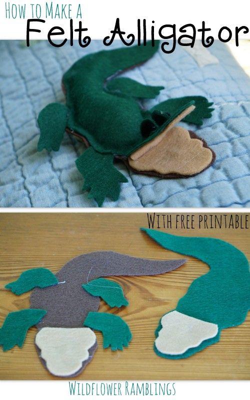 Make a felt alligator {with free printable} - Wildflower Ramblings #crafts #preschool