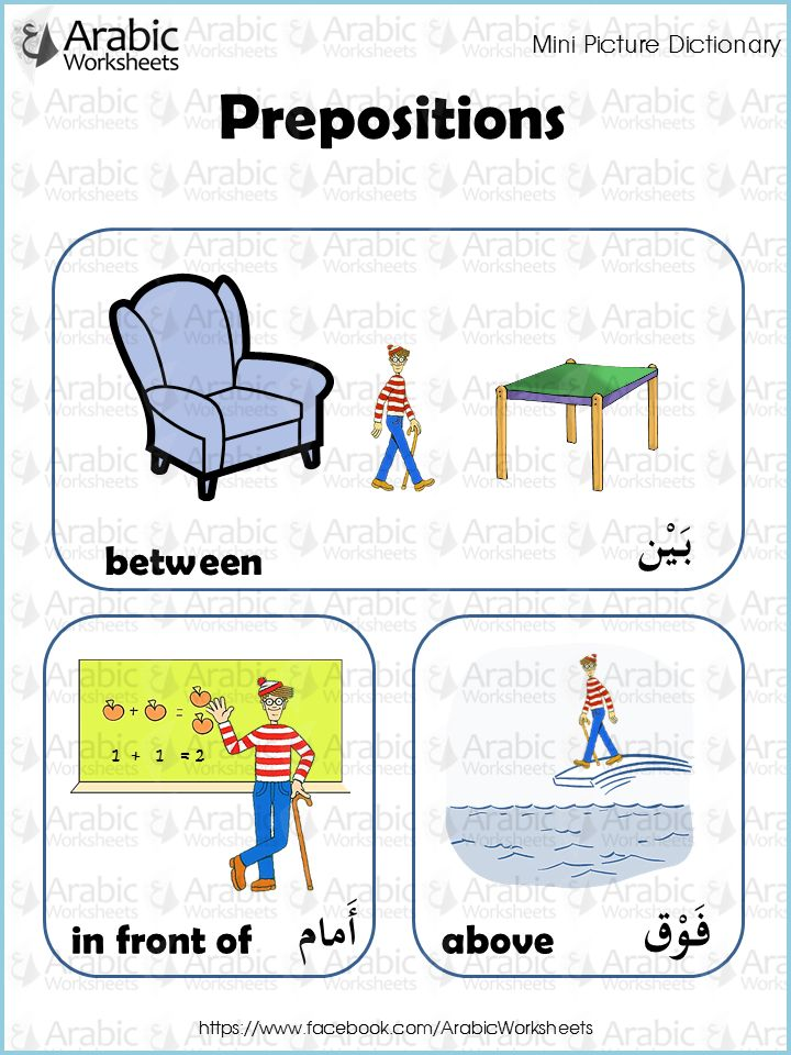 Arabic/English Picture Dictionary- Prepositions