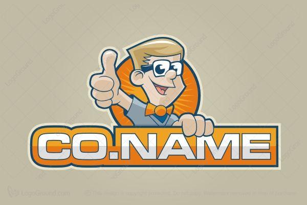 Logo for sale: Cartoon Nerd Logo